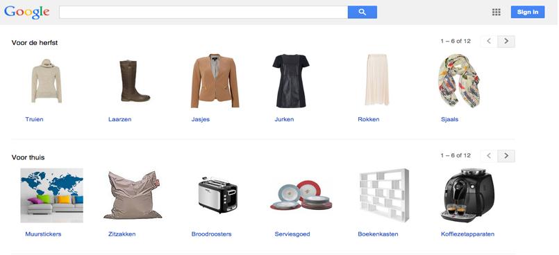 De homepage van google shopping